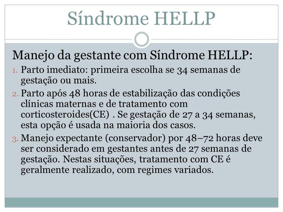 Manejo da gestante com Síndrome HELLP: 1. Parto imediato: primeira escolha se 34 semanas de gestação ou mais. 2. Parto após 48 horas de estabilização