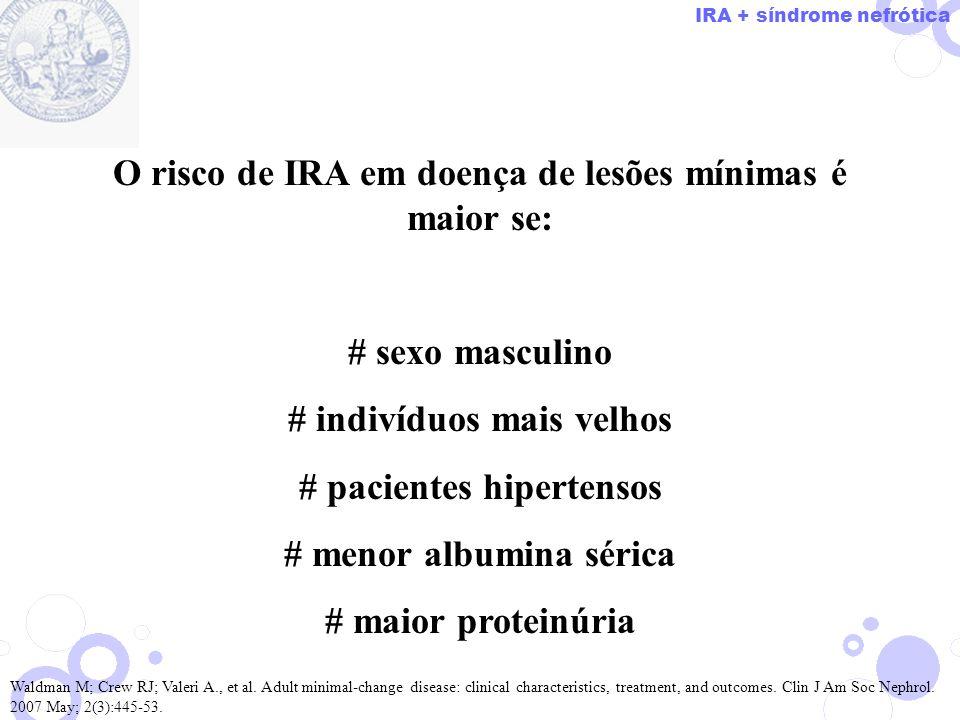 O risco de IRA em doença de lesões mínimas é maior se: # sexo masculino # indivíduos mais velhos # pacientes hipertensos # menor albumina sérica # mai
