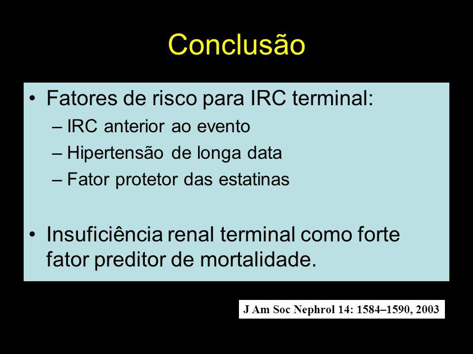 Conclusão Fatores de risco para IRC terminal: –IRC anterior ao evento –Hipertensão de longa data –Fator protetor das estatinas Insuficiência renal ter