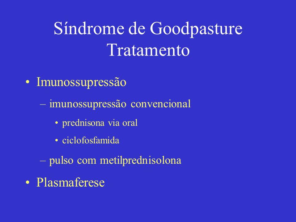 Síndrome de Goodpasture Tratamento Imunossupressão –imunossupressão convencional prednisona via oral ciclofosfamida –pulso com metilprednisolona Plasmaferese
