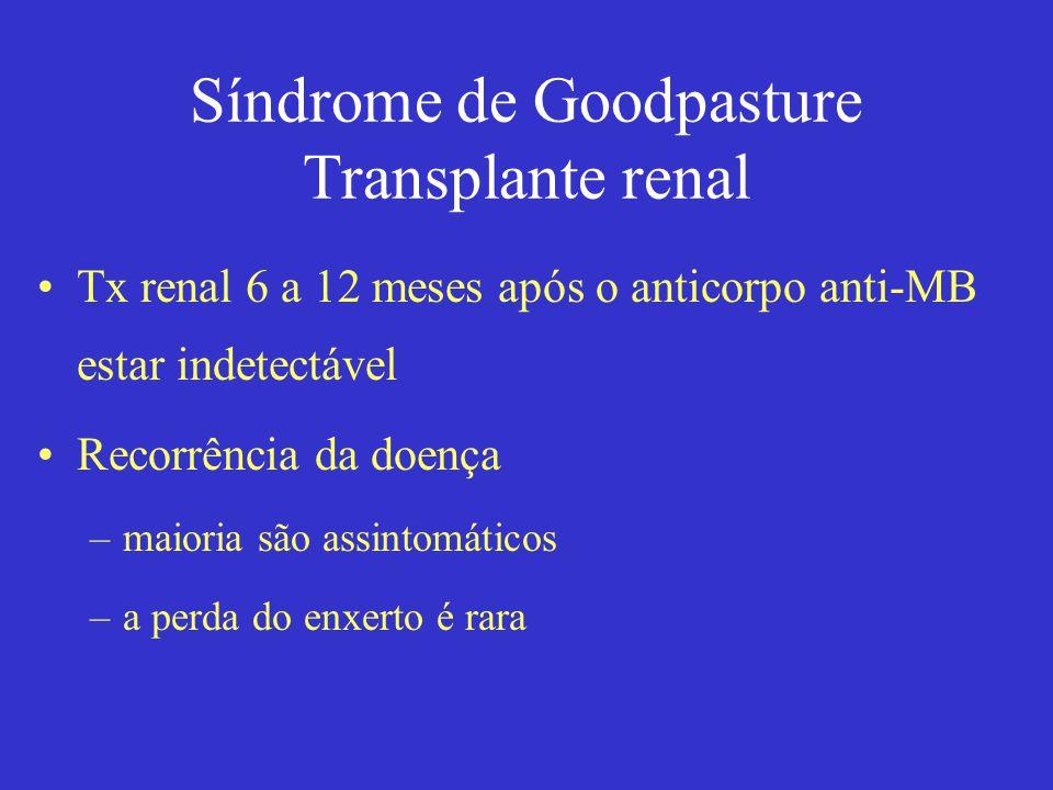Síndrome de Goodpasture Transplante renal Tx renal 6 a 12 meses após o anticorpo anti-MB estar indetectável Recorrência da doença –maioria são assintomáticos –a perda do enxerto é rara
