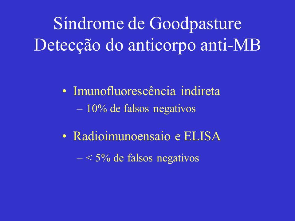Síndrome de Goodpasture Detecção do anticorpo anti-MB Imunofluorescência indireta –10% de falsos negativos Radioimunoensaio e ELISA –< 5% de falsos ne