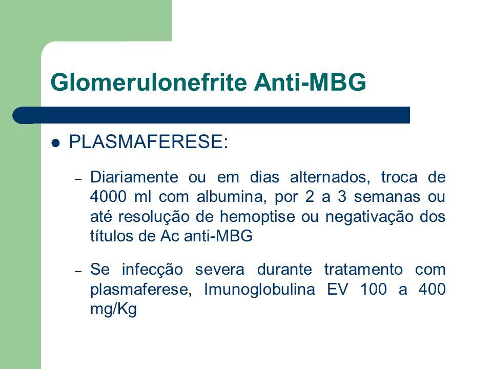 Glomerulonefrite Anti-MBG PLASMAFERESE: – Diariamente ou em dias alternados, troca de 4000 ml com albumina, por 2 a 3 semanas ou até resolução de hemo