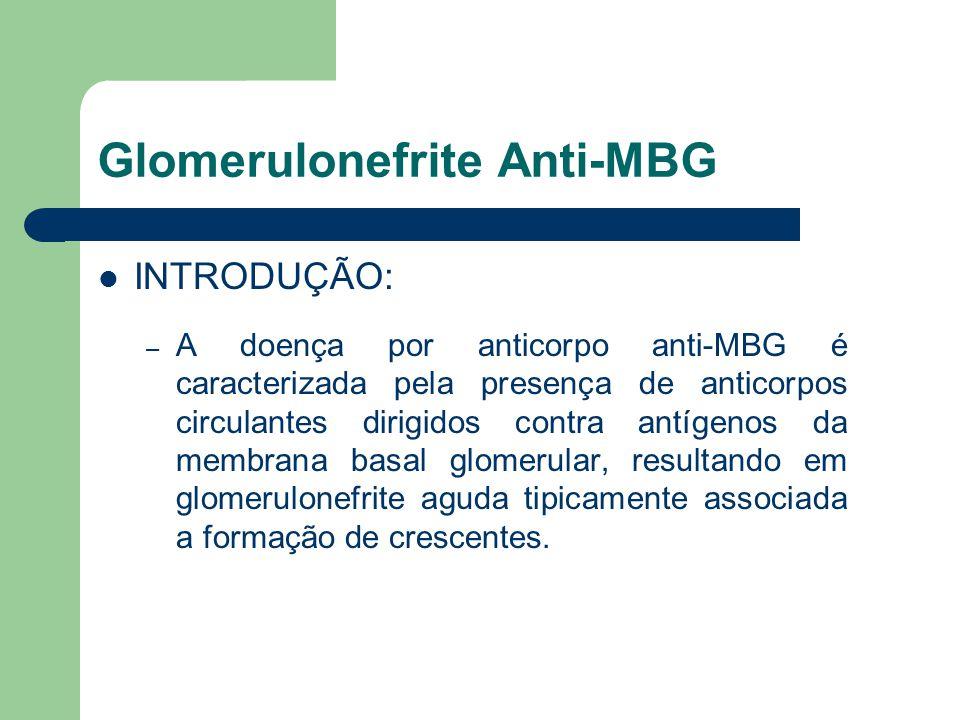 Glomerulonefrite Anti-MBG INTRODUÇÃO: – A doença por anticorpo anti-MBG é caracterizada pela presença de anticorpos circulantes dirigidos contra antíg