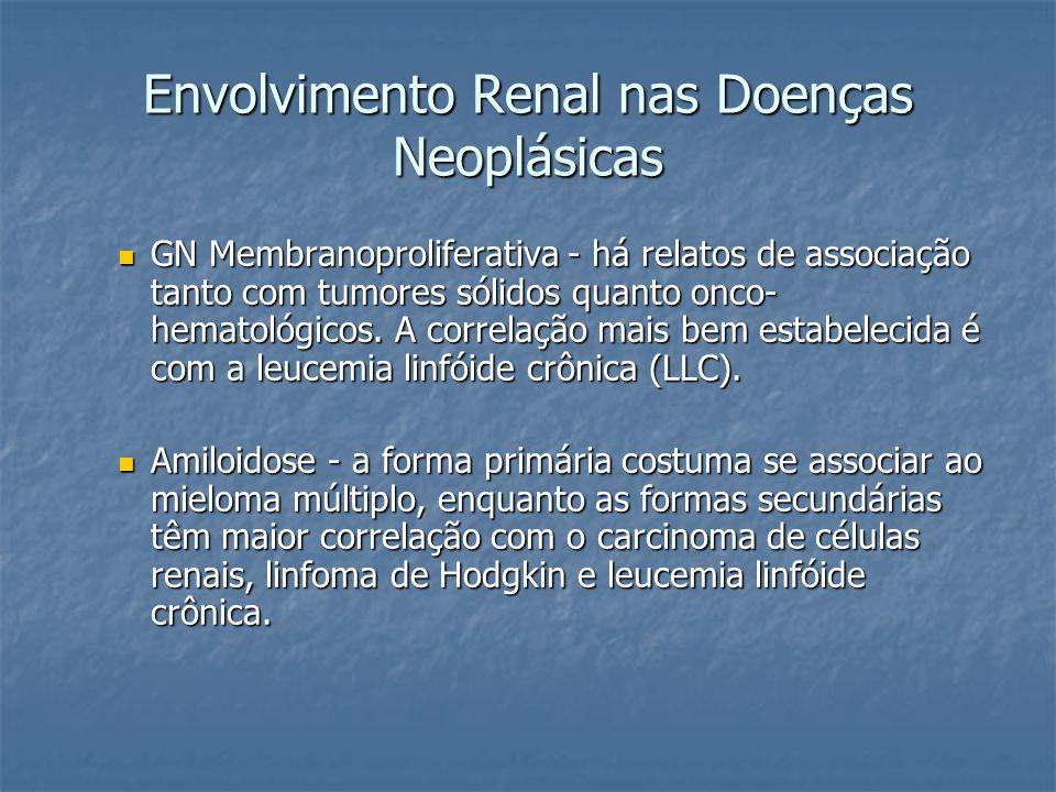Envolvimento Renal nas Doenças Neoplásicas GN Membranoproliferativa - há relatos de associação tanto com tumores sólidos quanto onco- hematológicos. A