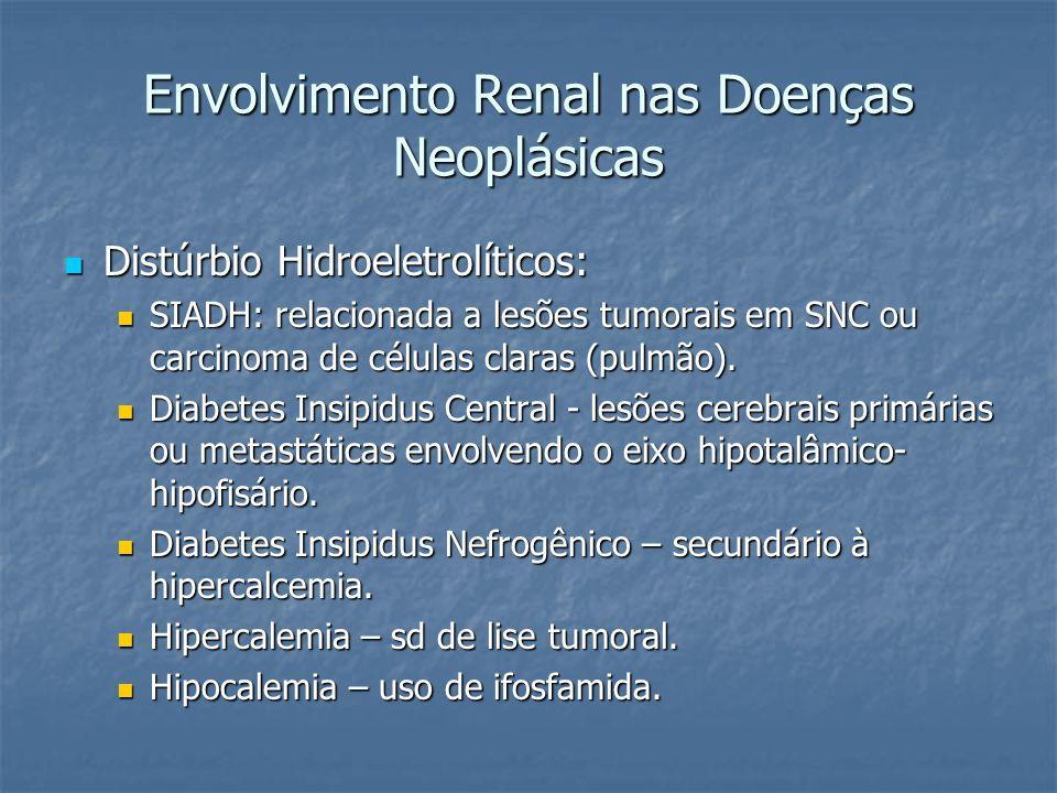 Envolvimento Renal nas Doenças Neoplásicas Distúrbio Hidroeletrolíticos: Distúrbio Hidroeletrolíticos: SIADH: relacionada a lesões tumorais em SNC ou