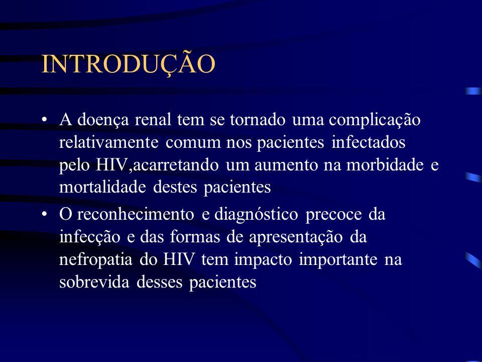 INTRODUÇÃO A doença renal tem se tornado uma complicação relativamente comum nos pacientes infectados pelo HIV,acarretando um aumento na morbidade e m