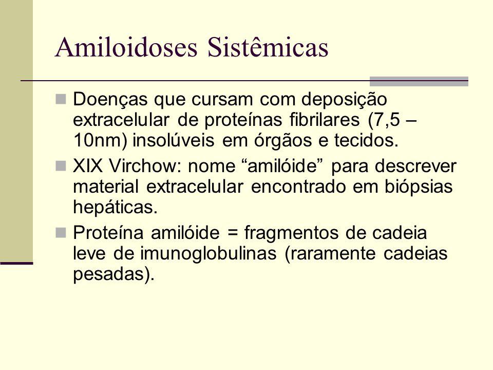 Amiloidoses Sistêmicas Doenças que cursam com deposição extracelular de proteínas fibrilares (7,5 – 10nm) insolúveis em órgãos e tecidos. XIX Virchow: