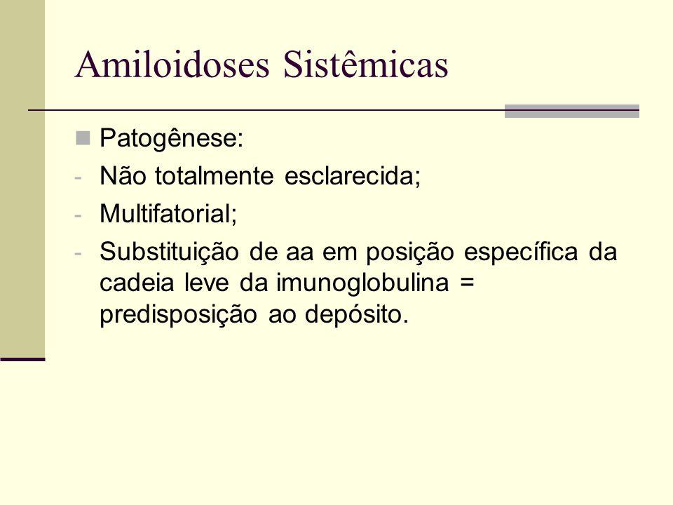 Amiloidoses Sistêmicas Patogênese: - Não totalmente esclarecida; - Multifatorial; - Substituição de aa em posição específica da cadeia leve da imunogl