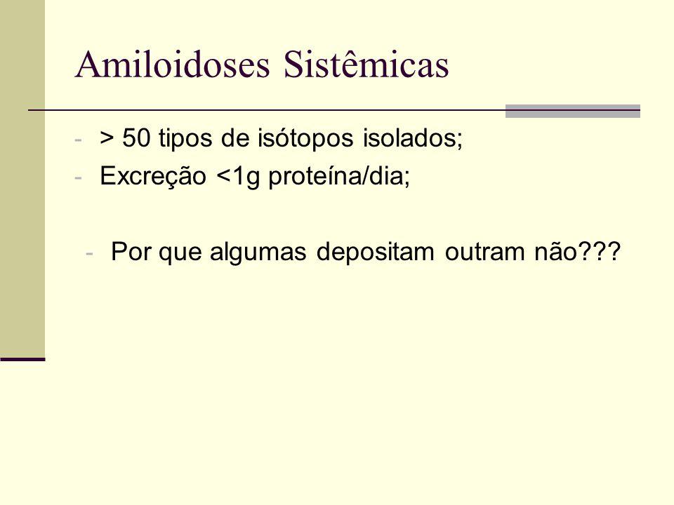 Amiloidoses Sistêmicas - > 50 tipos de isótopos isolados; - Excreção <1g proteína/dia; - Por que algumas depositam outram não???