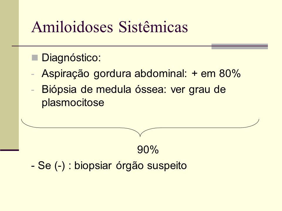 Amiloidoses Sistêmicas Diagnóstico: - Aspiração gordura abdominal: + em 80% - Biópsia de medula óssea: ver grau de plasmocitose 90% - Se (-) : biopsia