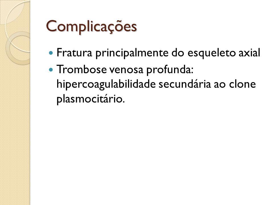 Complicações Fratura principalmente do esqueleto axial Trombose venosa profunda: hipercoagulabilidade secundária ao clone plasmocitário.