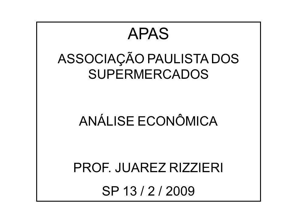 APAS ASSOCIAÇÃO PAULISTA DOS SUPERMERCADOS ANÁLISE ECONÔMICA PROF. JUAREZ RIZZIERI SP 13 / 2 / 2009