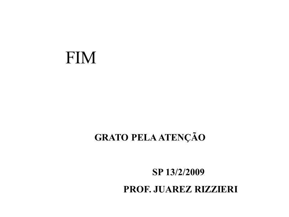 FIM GRATO PELA ATENÇÃO SP 13/2/2009 PROF. JUAREZ RIZZIERI