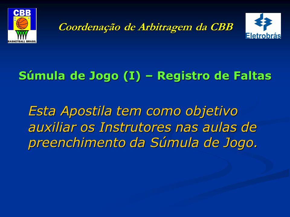Coordenação de Arbitragem da CBB Súmula de Jogo – Registro de Faltas