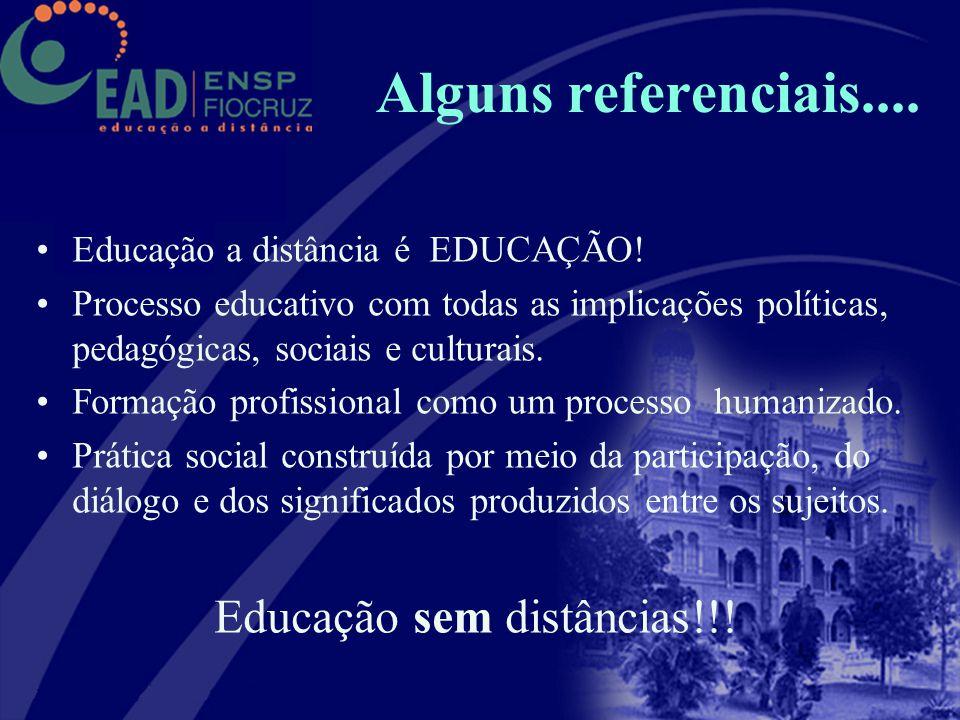 Alguns referenciais.... Educação a distância é EDUCAÇÃO! Processo educativo com todas as implicações políticas, pedagógicas, sociais e culturais. Form