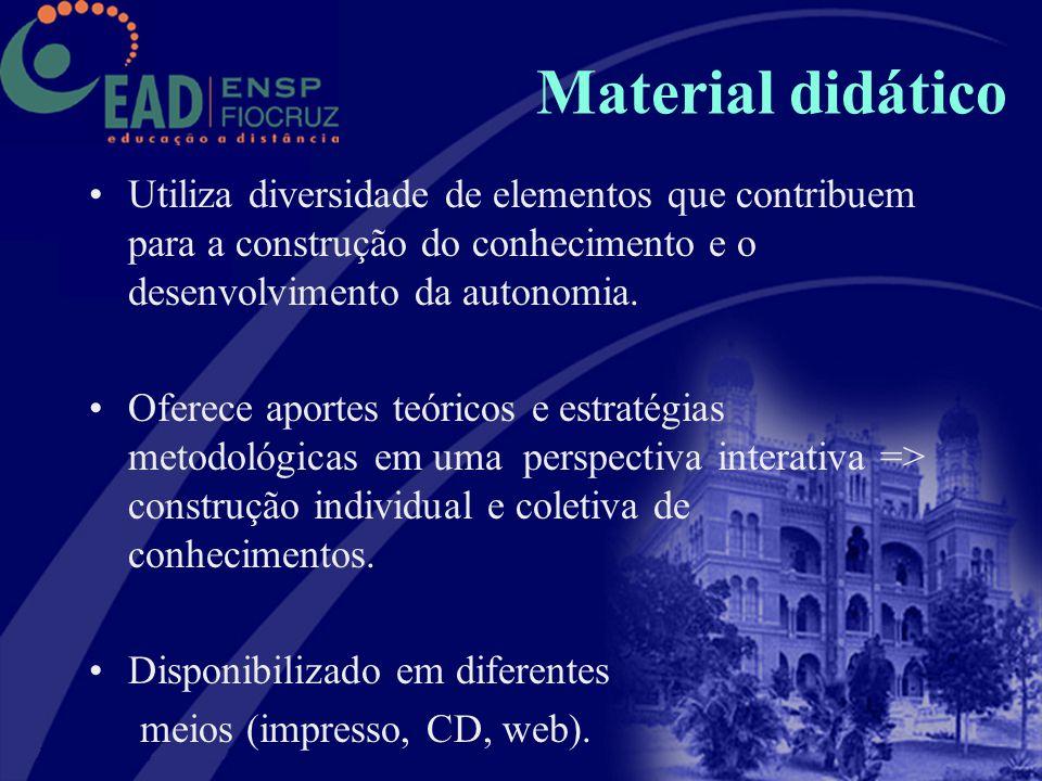 Material didático Utiliza diversidade de elementos que contribuem para a construção do conhecimento e o desenvolvimento da autonomia. Oferece aportes