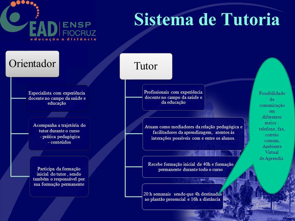 Sistema de Tutoria Orientador Especialista com experiência docente no campo da saúde e educação Acompanha a trajetória do tutor durante o curso - prát
