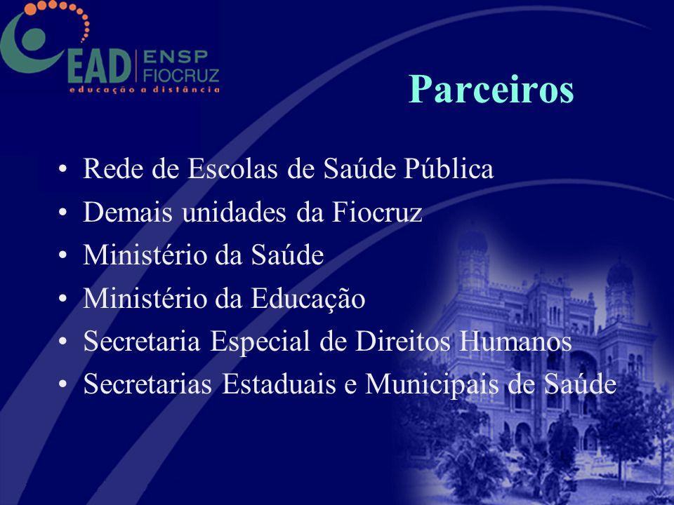 Parceiros Rede de Escolas de Saúde Pública Demais unidades da Fiocruz Ministério da Saúde Ministério da Educação Secretaria Especial de Direitos Human