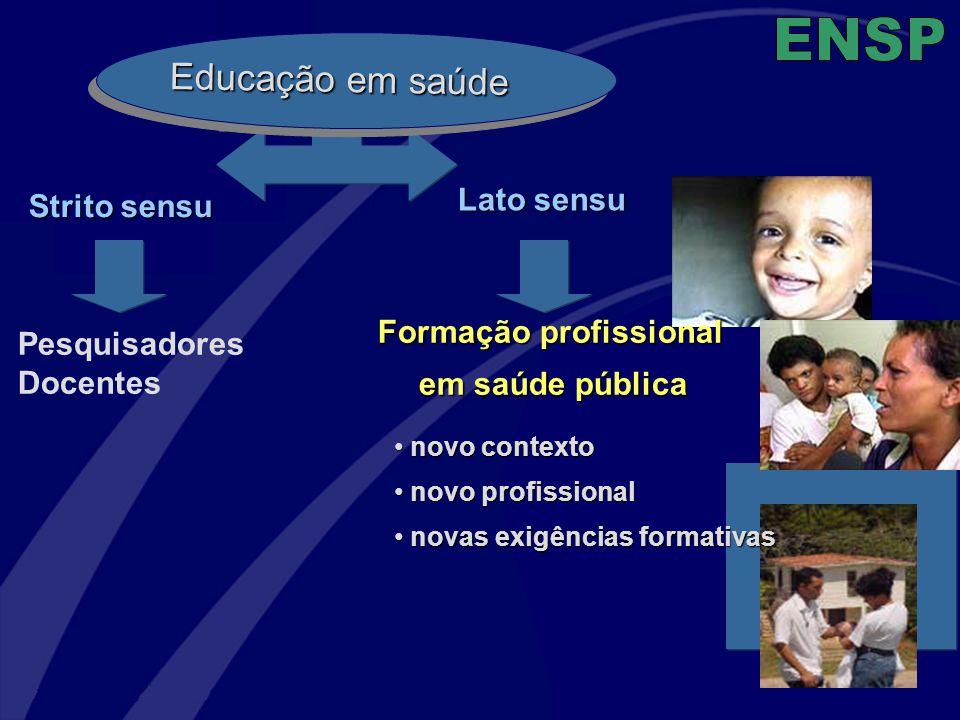 Educação em saúde Strito sensu Pesquisadores Docentes Formação profissional em saúde pública novo contexto novo contexto novo profissional novo profis