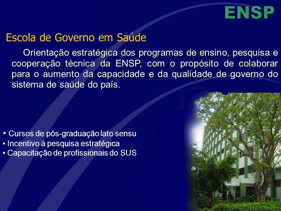 Cursos de pós-graduação lato sensu Incentivo à pesquisa estratégica Capacitação de profissionais do SUS Escola de Governo em Saúde Orientação estratég