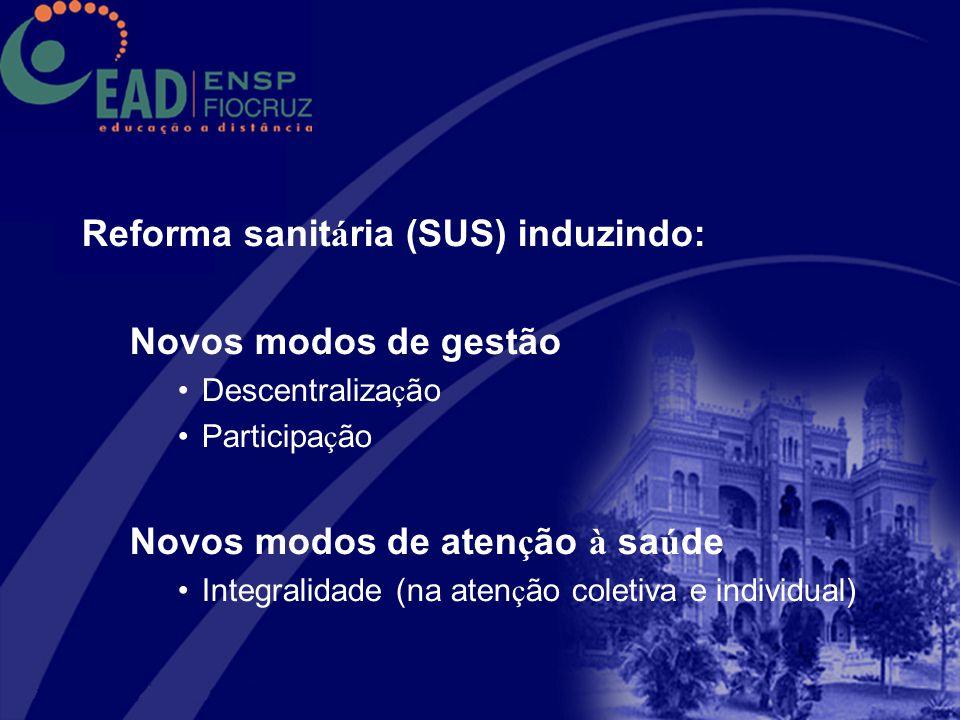 Participação no Sistema Universidade Aberta do Brasil 2 Ofertas concluídas : 2007-2008/ 2009-2010 3ª Oferta 2010-2011 (em elaboração) 5 cursos –Vigilância Sanitária –Gestão em Saúde –Facilitadores de Educação Permanente em Saúde –Ativadores de Processos de Mudança na Formação Superior em Saúde –Gestão de Projetos de Investimentos em Saúde