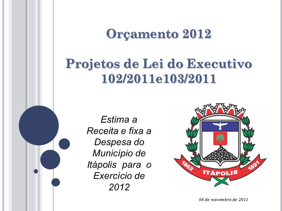 Orçamento 2012 Projetos de Lei do Executivo 102/2011e103/2011 Estima a Receita e fixa a Despesa do Município de Itápolis para o Exercício de 2012 08 de novembro de 2011