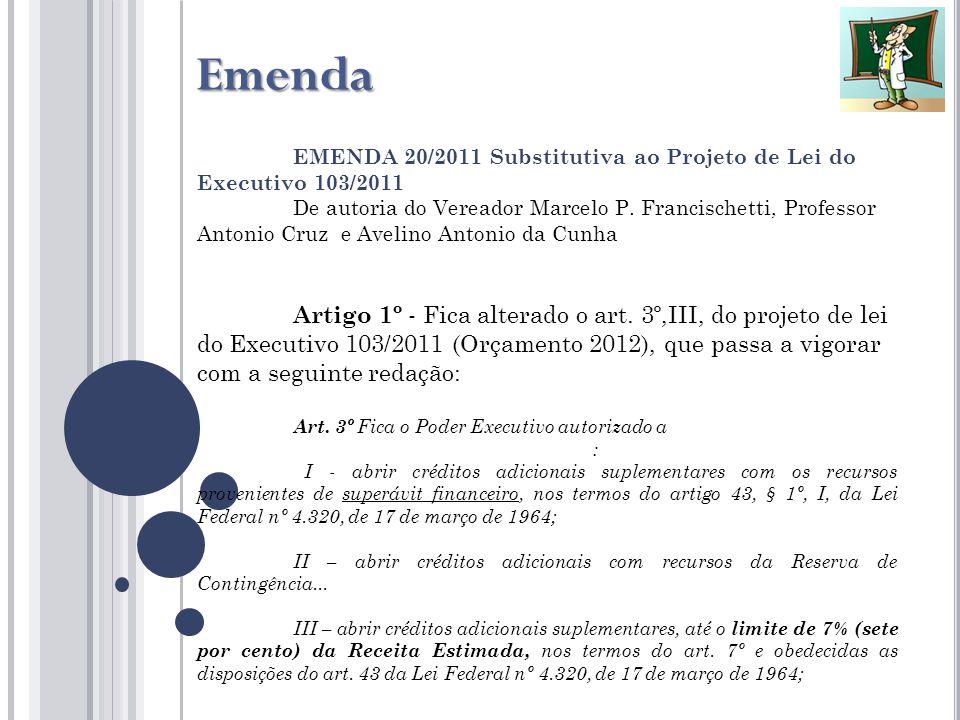 EMENDA 20/2011 Substitutiva ao Projeto de Lei do Executivo 103/2011 De autoria do Vereador Marcelo P.