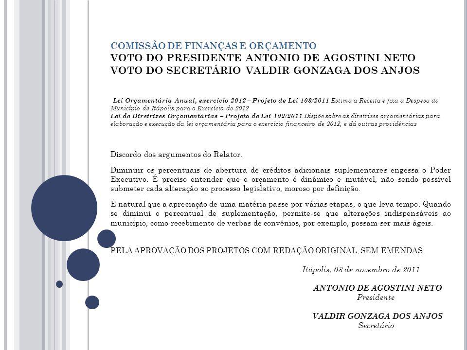 COMISSÃO DE FINANÇAS E ORÇAMENTO VOTO DO PRESIDENTE ANTONIO DE AGOSTINI NETO VOTO DO SECRETÁRIO VALDIR GONZAGA DOS ANJOS Lei Orçamentária Anual, exercício 2012 – Projeto de Lei 103/2011 Estima a Receita e fixa a Despesa do Município de Itápolis para o Exercício de 2012 Lei de Diretrizes Orçamentárias – Projeto de Lei 102/2011 Dispõe sobre as diretrizes orçamentárias para elaboração e execução da lei orçamentária para o exercício financeiro de 2012, e dá outras providências Discordo dos argumentos do Relator.