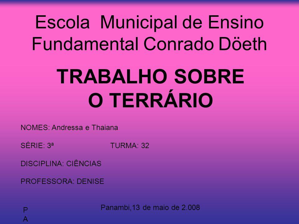 Escola Municipal de Ensino Fundamental Conrado Döeth TRABALHO SOBRE O TERRÁRIO NOMES: Andressa e Thaiana SÉRIE: 3ªTURMA: 32 DISCIPLINA: CIÊNCIAS PROFE