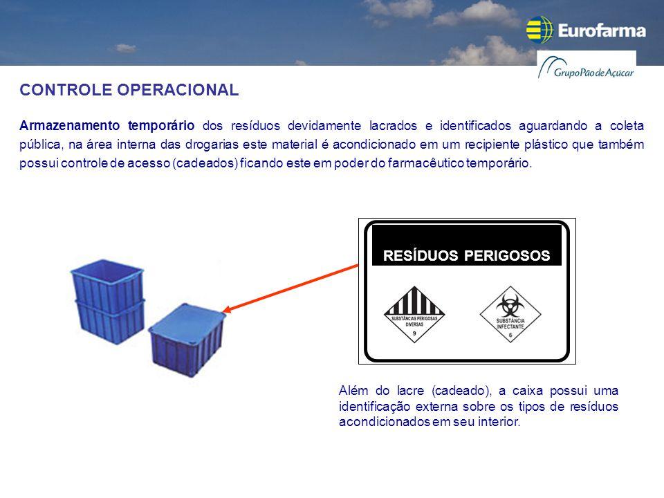 CONTROLE OPERACIONAL Armazenamento temporário dos resíduos devidamente lacrados e identificados aguardando a coleta pública, na área interna das droga