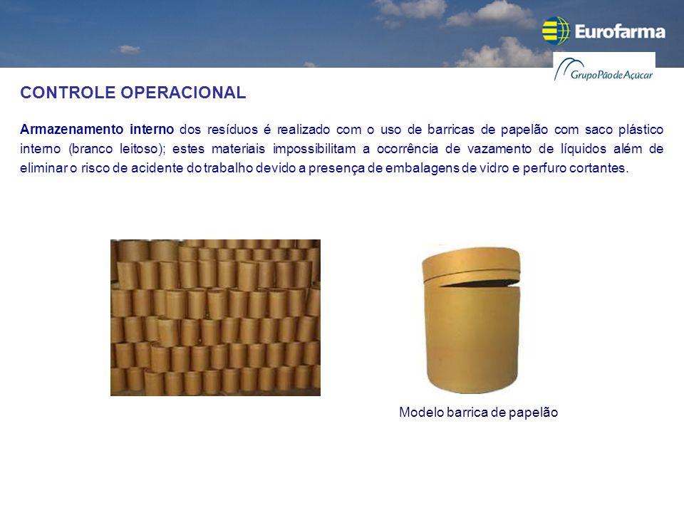 CONTROLE OPERACIONAL Armazenamento interno dos resíduos é realizado com o uso de barricas de papelão com saco plástico interno (branco leitoso); estes