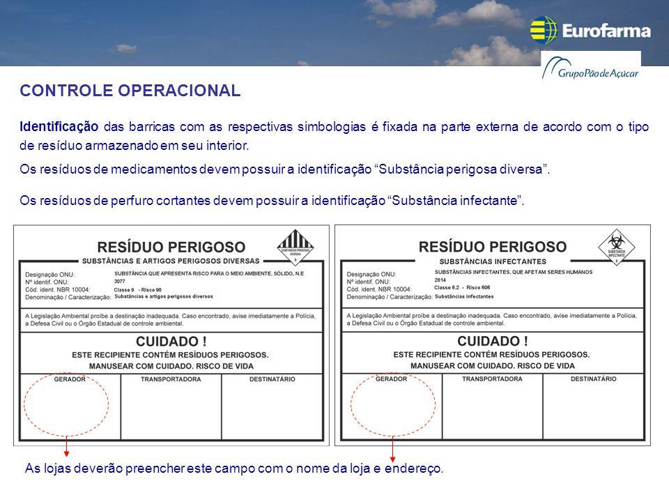 CONTROLE OPERACIONAL Identificação das barricas com as respectivas simbologias é fixada na parte externa de acordo com o tipo de resíduo armazenado em