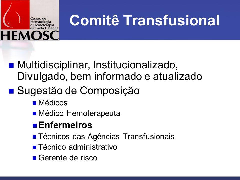 Comitê Transfusional Multidisciplinar, Institucionalizado, Divulgado, bem informado e atualizado Sugestão de Composição Médicos Médico Hemoterapeuta Enfermeiros Técnicos das Agências Transfusionais Técnico administrativo Gerente de risco