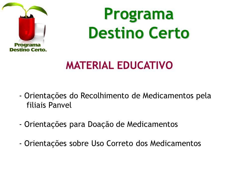 MATERIAL EDUCATIVO - Orientações do Recolhimento de Medicamentos pela filiais Panvel - Orientações para Doação de Medicamentos - Orientações sobre Uso Correto dos Medicamentos Programa Destino Certo