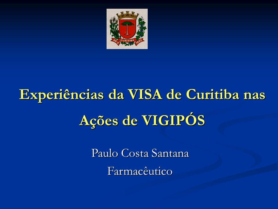 Experiências da VISA de Curitiba nas Ações de VIGIPÓS Paulo Costa Santana Farmacêutico