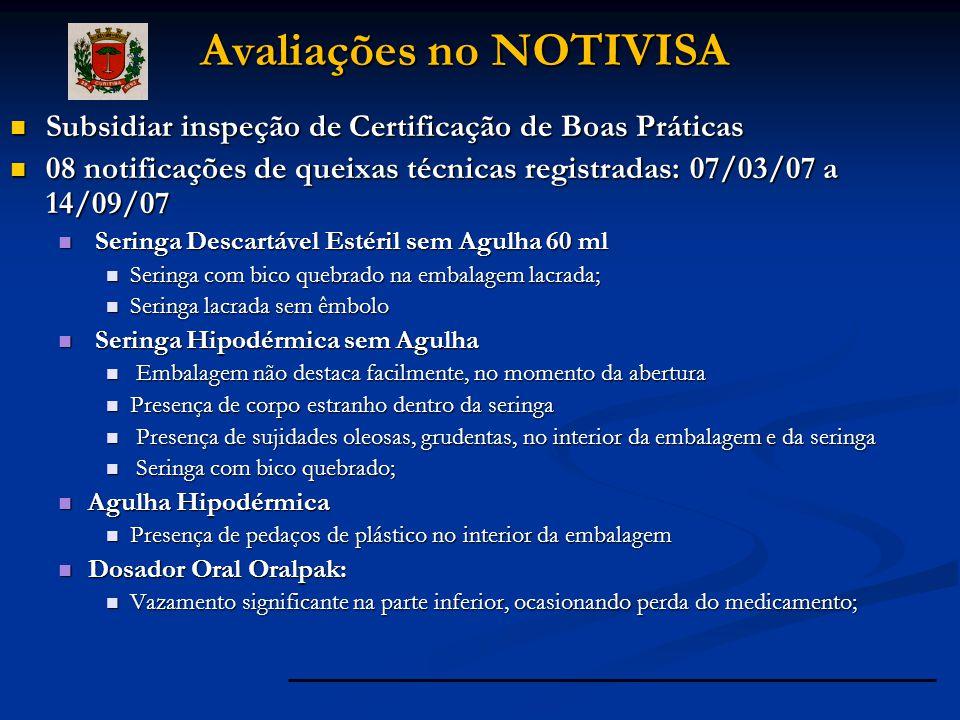 Subsidiar inspeção de Certificação de Boas Práticas Subsidiar inspeção de Certificação de Boas Práticas 08 notificações de queixas técnicas registrada
