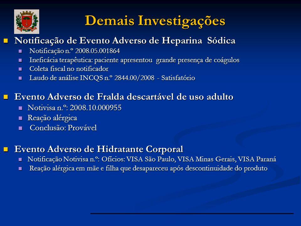 Notificação de Evento Adverso de Heparina Sódica Notificação de Evento Adverso de Heparina Sódica Notificação n.º 2008.05.001864 Notificação n.º 2008.