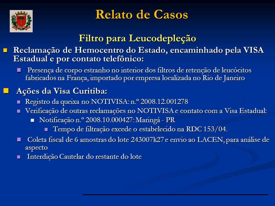 Filtro para Leucodepleção Reclamação de Hemocentro do Estado, encaminhado pela VISA Estadual e por contato telefônico: Reclamação de Hemocentro do Est