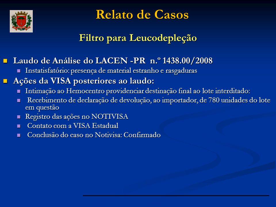 Filtro para Leucodepleção Laudo de Análise do LACEN -PR n.º 1438.00/2008 Laudo de Análise do LACEN -PR n.º 1438.00/2008 Instatisfatório: presença de m