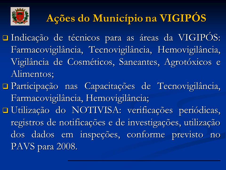  Indicação de técnicos para as áreas da VIGIPÓS: Farmacovigilância, Tecnovigilância, Hemovigilância, Vigilância de Cosméticos, Saneantes, Agrotóxicos