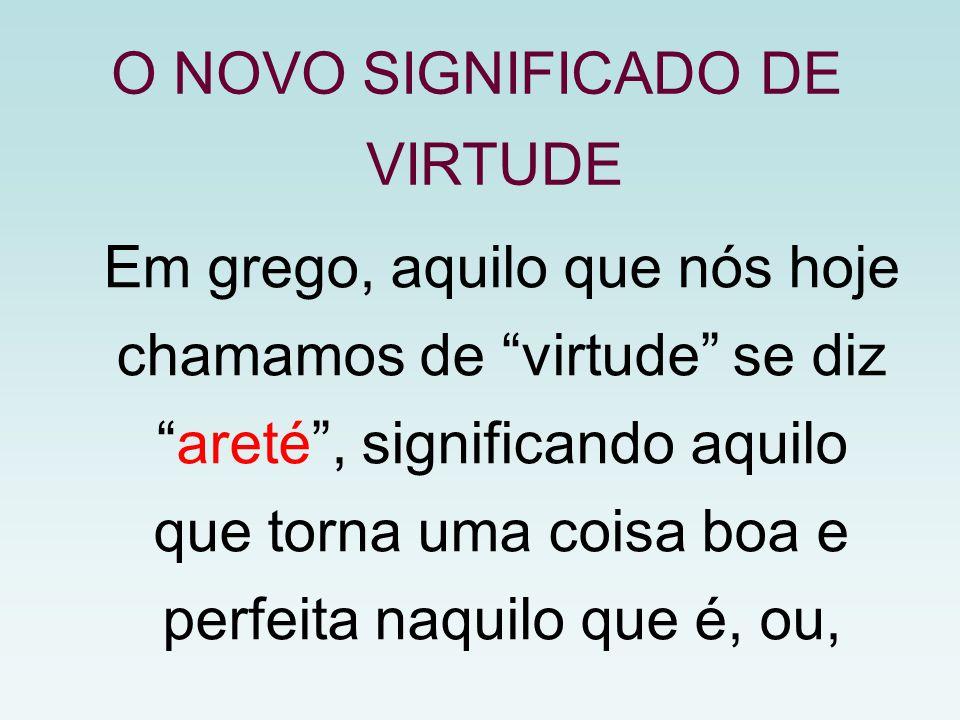 """Em grego, aquilo que nós hoje chamamos de """"virtude"""" se diz """"areté"""", significando aquilo que torna uma coisa boa e perfeita naquilo que é, ou, O NOVO S"""