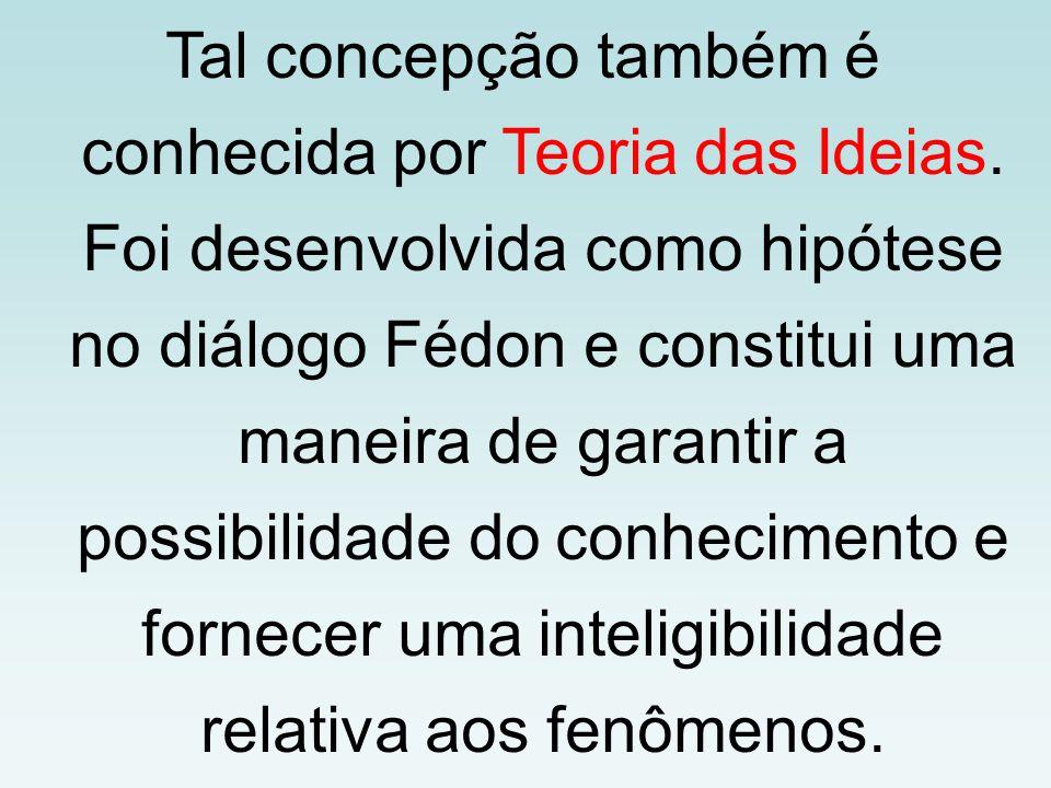 Tal concepção também é conhecida por Teoria das Ideias. Foi desenvolvida como hipótese no diálogo Fédon e constitui uma maneira de garantir a possibil