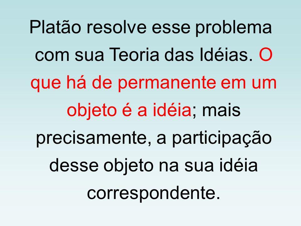 Platão resolve esse problema com sua Teoria das Idéias. O que há de permanente em um objeto é a idéia; mais precisamente, a participação desse objeto