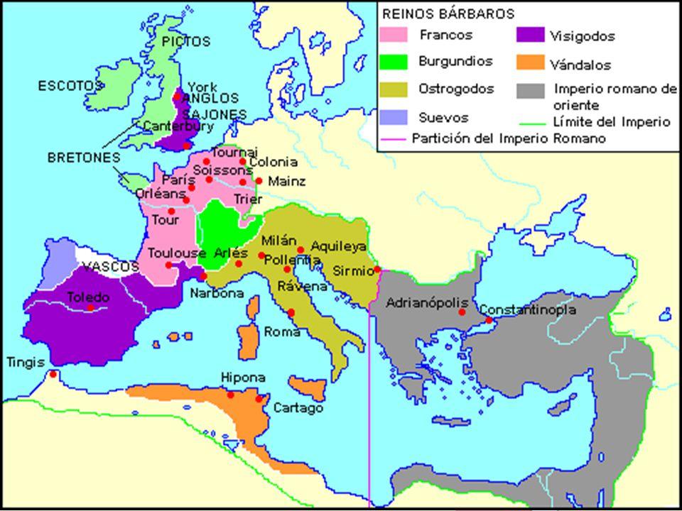 Divisão do Império Romano Após as invasões dos bárbaros, Roma foi dividida em duas partes, Ocidente e Oriente.