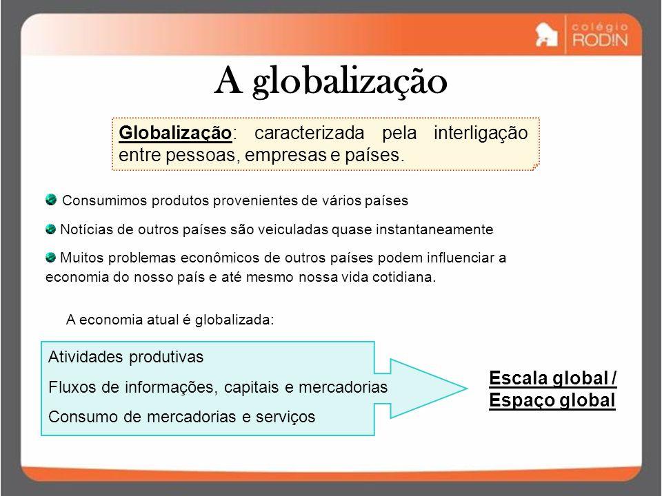 A globalização Globalização: caracterizada pela interligação entre pessoas, empresas e países.