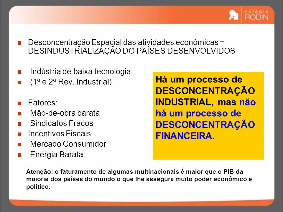 Desconcentração Espacial das atividades econômicas = DESINDUSTRIALIZAÇÃO DO PAÍSES DESENVOLVIDOS Indústria de baixa tecnologia (1ª e 2ª Rev.