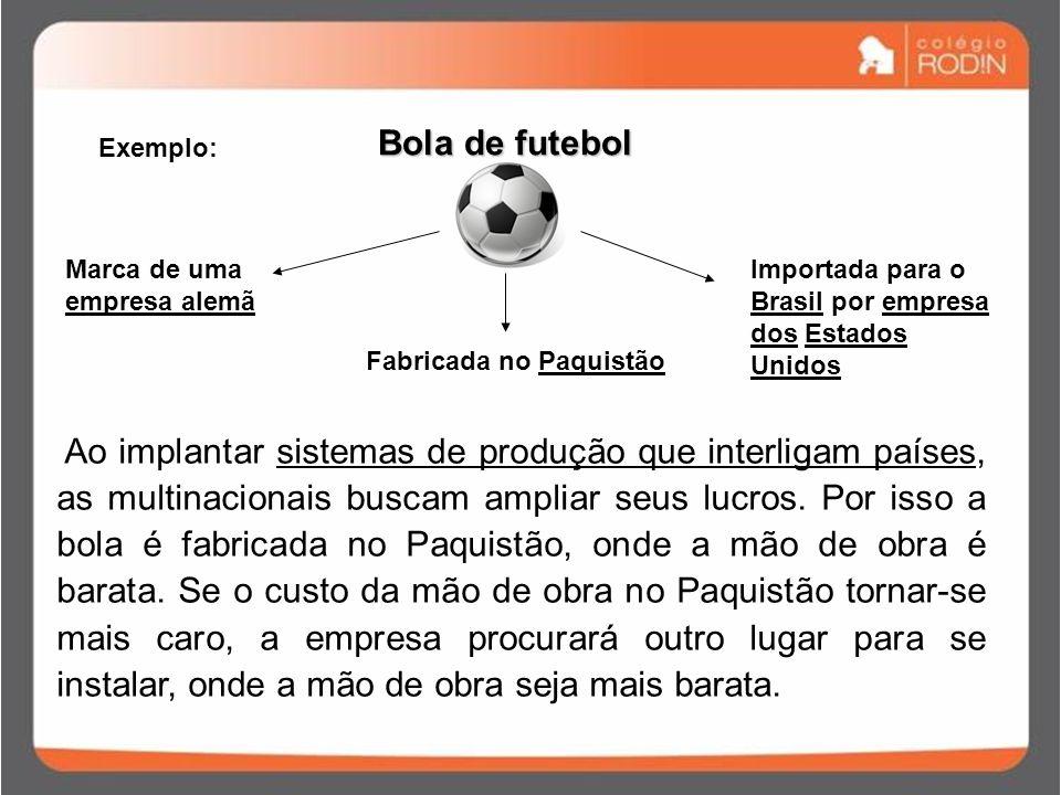Exemplo: Bola de futebol Marca de uma empresa alemã Fabricada no Paquistão Importada para o Brasil por empresa dos Estados Unidos Ao implantar sistemas de produção que interligam países, as multinacionais buscam ampliar seus lucros.