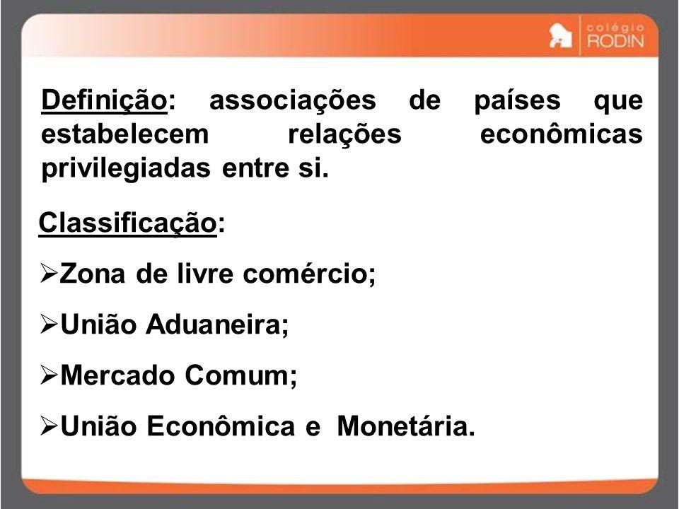 Classificação:  Zona de livre comércio;  União Aduaneira;  Mercado Comum;  União Econômica e Monetária.