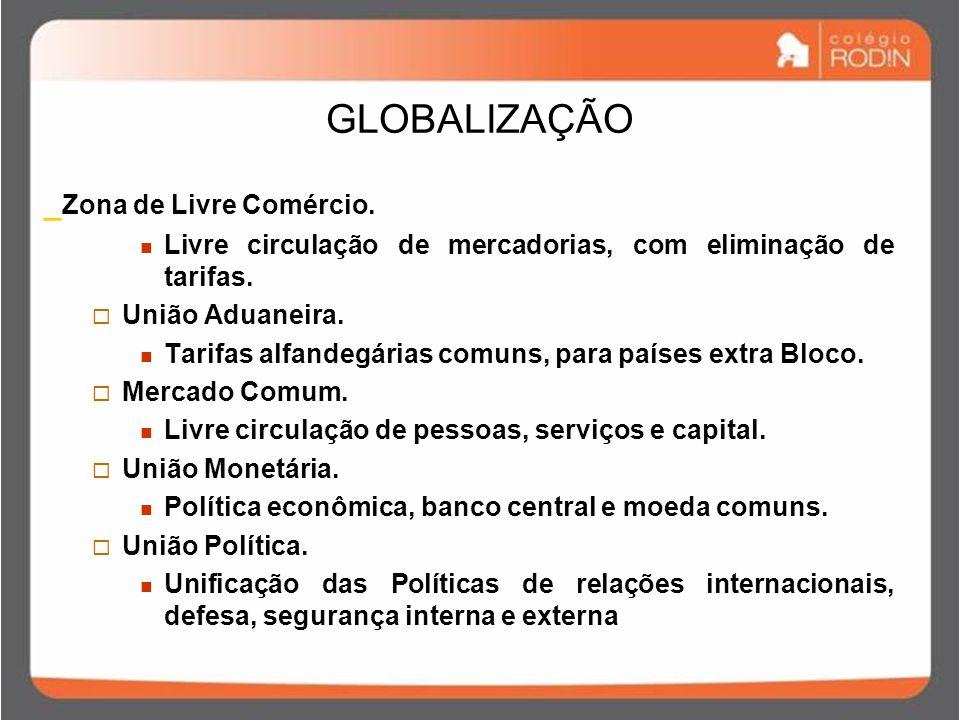 GLOBALIZAÇÃO _ Zona de Livre Comércio.Livre circulação de mercadorias, com eliminação de tarifas.